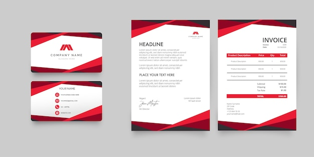 Modern stationery collection with red business card, letterhead and invoice Free Vector