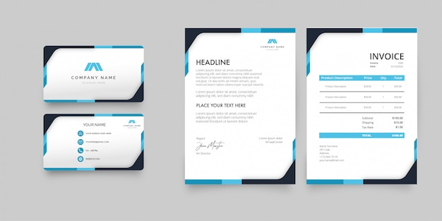 Modern stationery pack with blue shapes template Free Vector