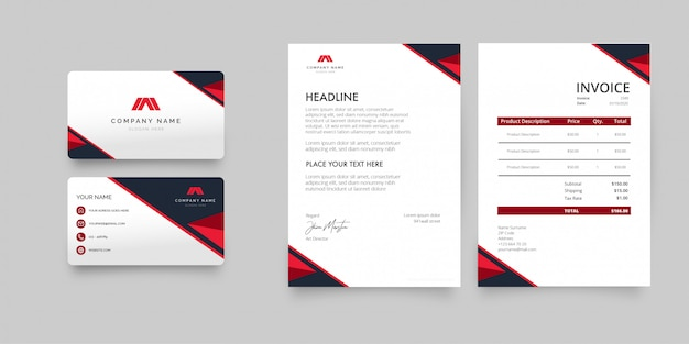Modern stationery pack with business card, letterhead and invoice template Free Vector