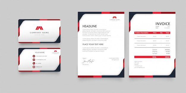 Modern stationery pack with red shapes template Free Vector