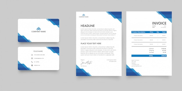 Modern stationery pack Free Vector
