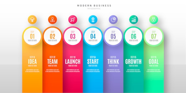 Modern step infographic with icons Free Vector
