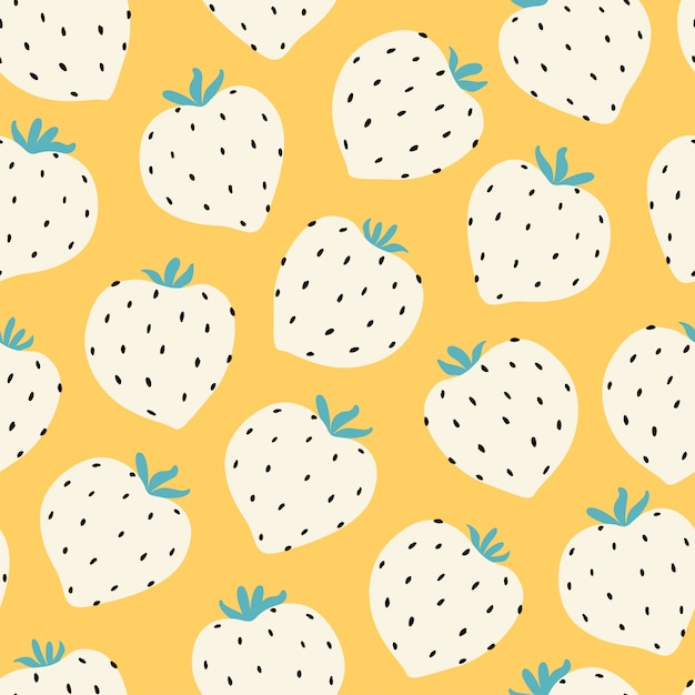 モダンなイチゴのシームレスなパターン。黄色の大きな白い丸いイチゴ。 Premiumベクター
