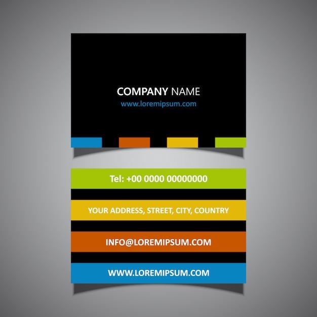 Modern striped business card design Free Vector