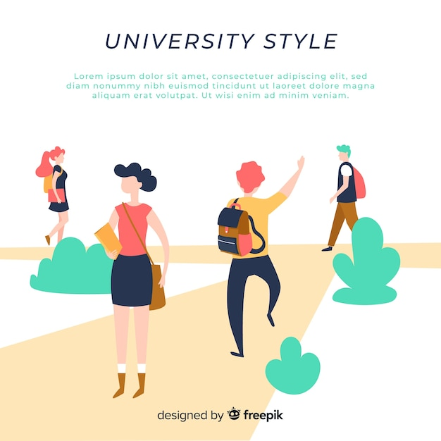 Modern student's life composition with flat design Free Vector