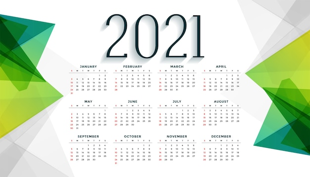 Modern style 2021 new year calendar design in geometric style Free Vector