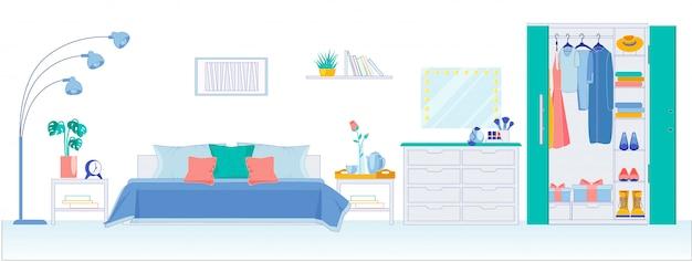 Современная спальня с большим гардеробом, квартира. Premium векторы