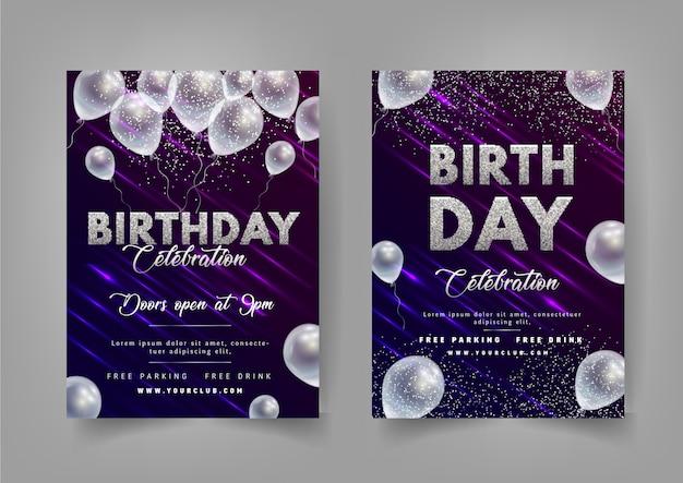 Современный стиль день рождения флаер с воздушными шарами и морозами. Premium векторы