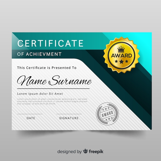 Modern Style Certificate Template Vector Free Download