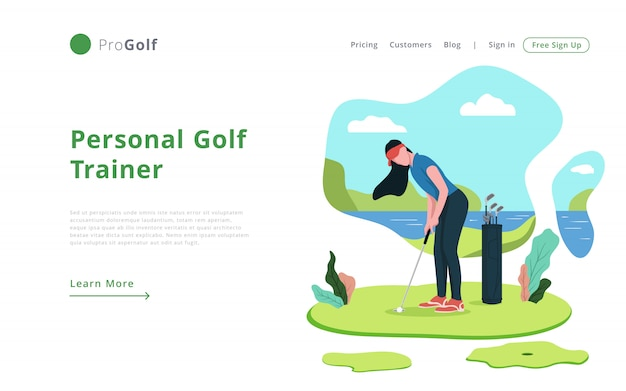 Modern style online golf trainer landing page template website template Premium Vector