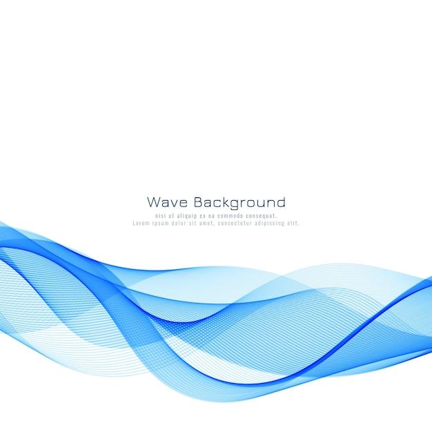 モダンなスタイリッシュな青い波背景 無料ベクター