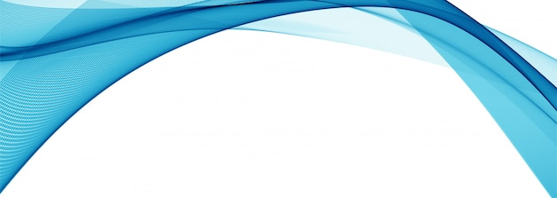 Modern stylish blue wave banner Free Vector