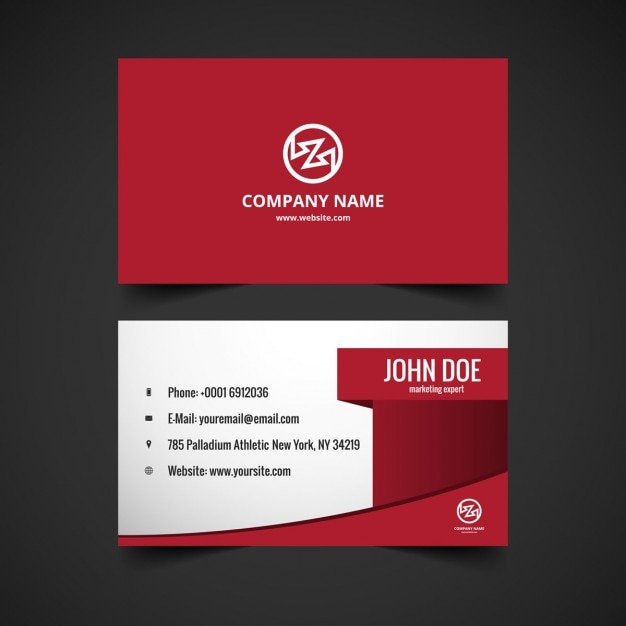 Modern stylish visiting card in color red Free Vector