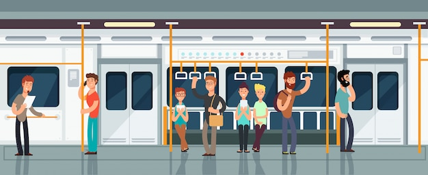 Modern subway passenger carriage interior with people Premium Vector