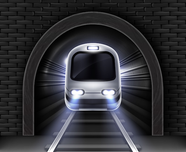 Modern subway train in tunnel. realistic illustration of front wagon of passenger speed train, stone arch in brick wall and rails. underground electric railway transport Free Vector