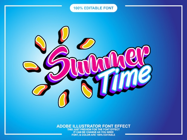 Modern summer editable illustrator text effect Premium Vector