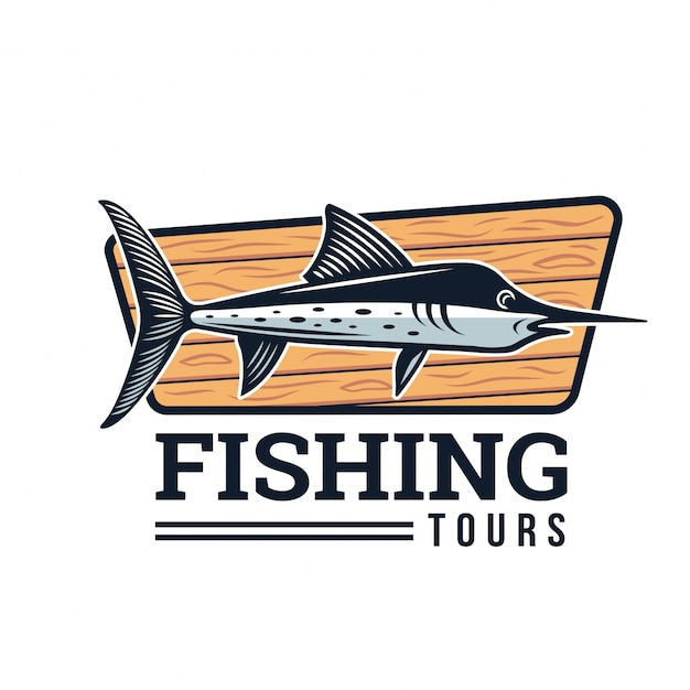 Modern Summer Fishing Logo Badge Illustration