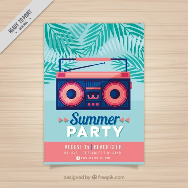 Modern summer party flyer with a radio-cassette