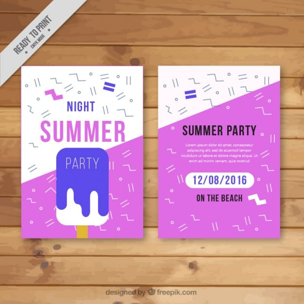 Modern summer party flyer with ice-cream