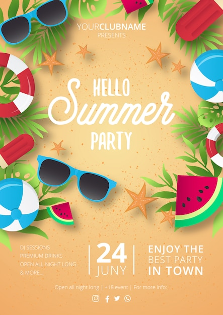 Modern summer party poster Free Vector