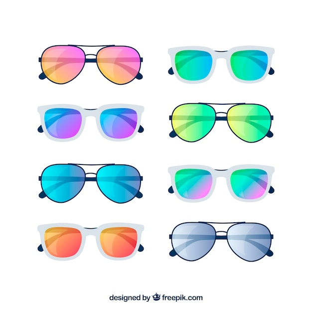 Modern sunglasses collection in flat style Free Vector