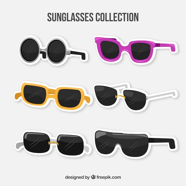 플랫 스타일의 현대 선글라스 컬렉션 프리미엄 벡터