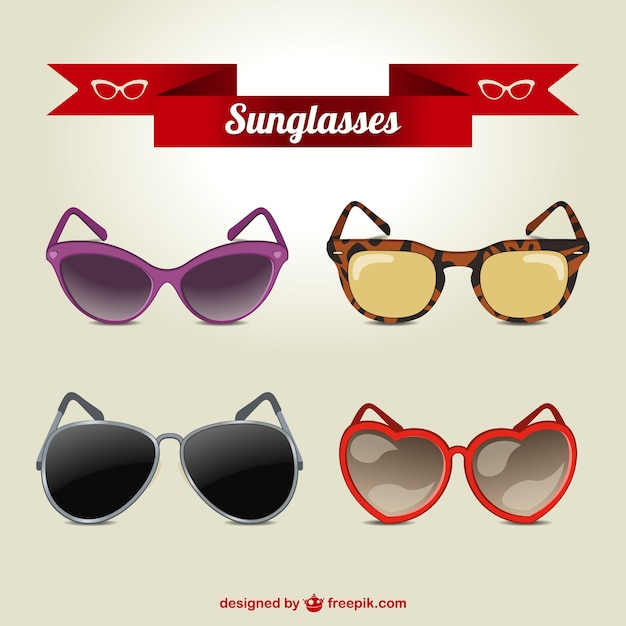 Modern sunglasses collection Premium Vector