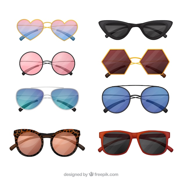 Modern sunglasses collection Free Vector