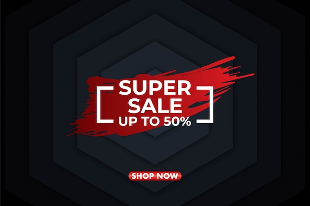 Modern super sale banner background Premium Vector