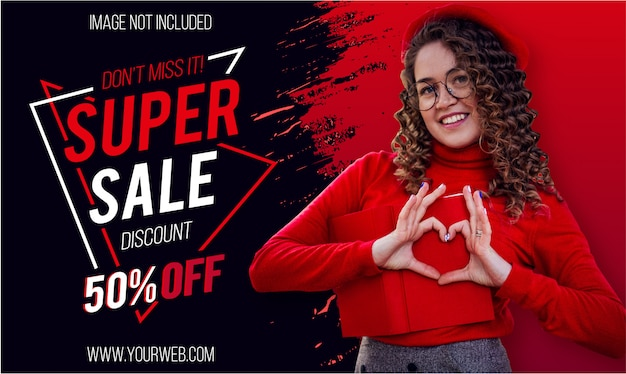 Modern super sale banner with red paint brush Free Vector
