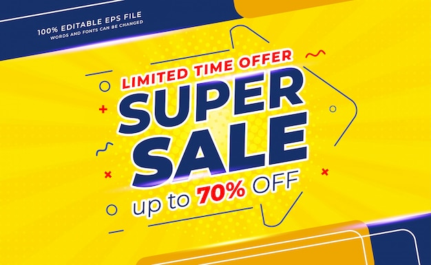 Modern super sale banner on yellow and blue background Premium Vector
