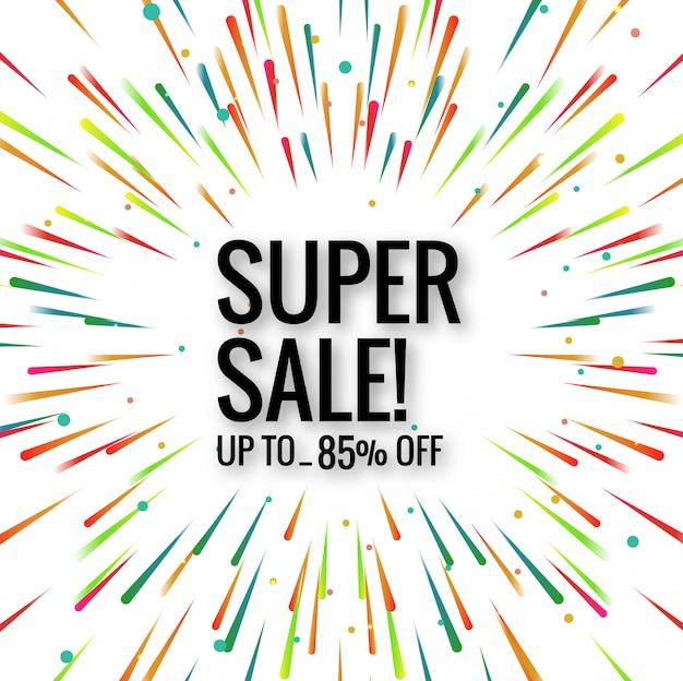 Modern super sale colorful background vector Free Vector