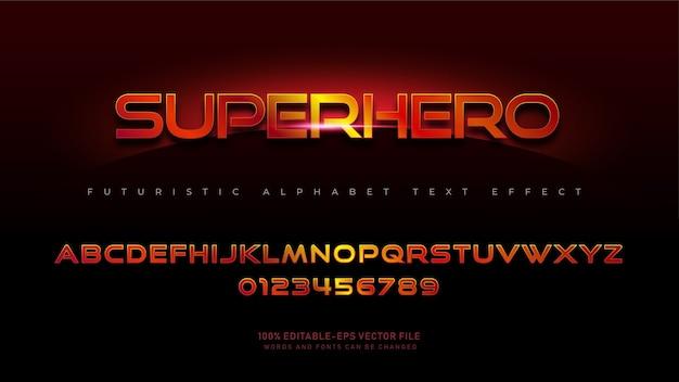 Современные шрифты алфавита супергероев с текстовым эффектом Бесплатные векторы