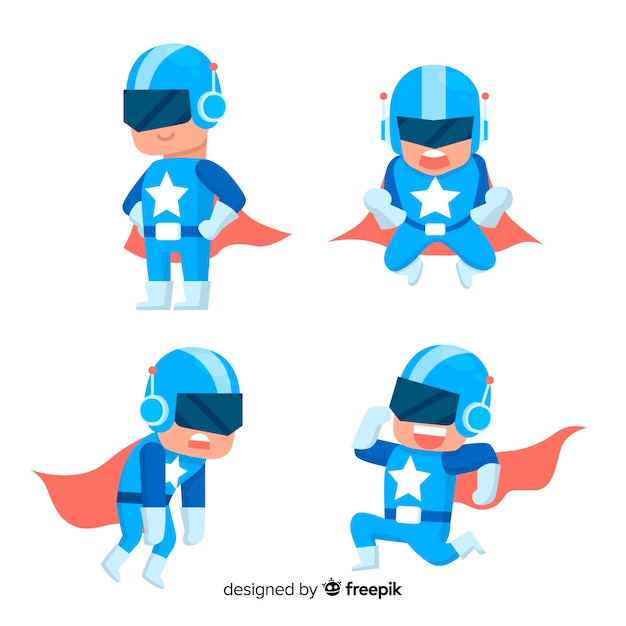 Modern superhero character collection with flat design Free Vector