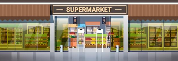 Современный супермаркет, розничный магазин с ассортиментом продуктов, продуктовый магазин, внешний горизонтальный Premium векторы