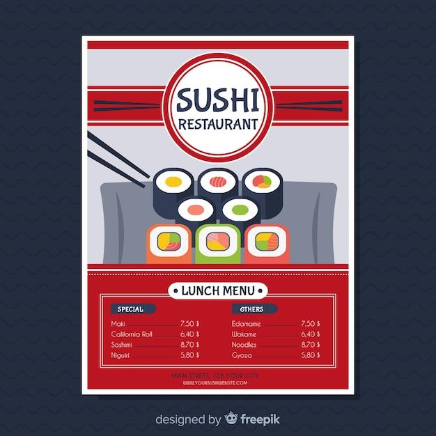 Modern sushi restaurant flyer template Free Vector
