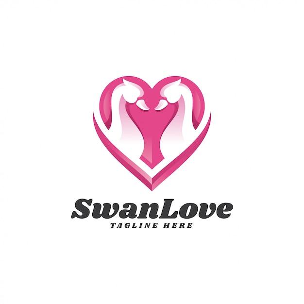 Логотип modern swan goose и heart love Premium векторы