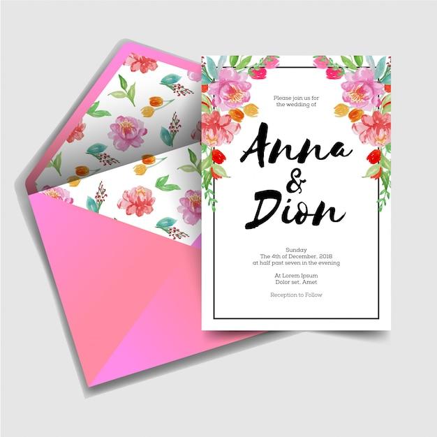 Modern sweet wedding invitation Premium Vector