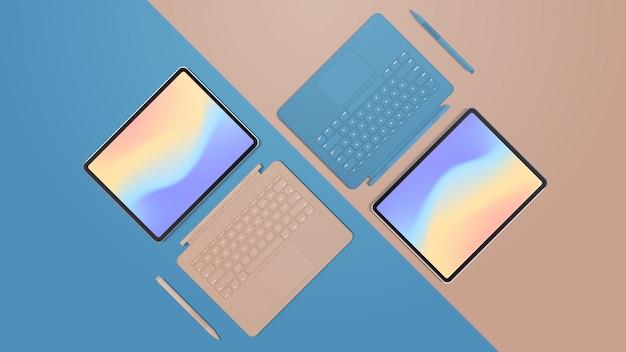 키보드 및 컬러 화면 현실적인 모형 가제트 및 장치가있는 현대 태블릿 컴퓨터 프리미엄 벡터