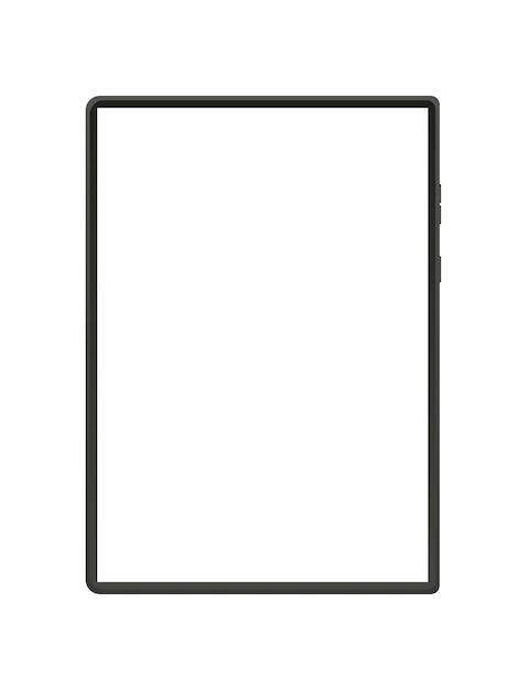 白い画面のイラストとモダンなタブレット Premiumベクター