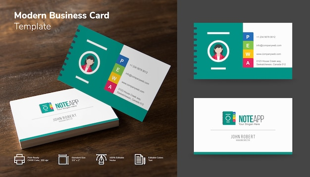 Modern Teal And White App Business Card Vector Premium Download
