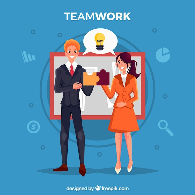 Modern teamwork concept with flat design Free Vector