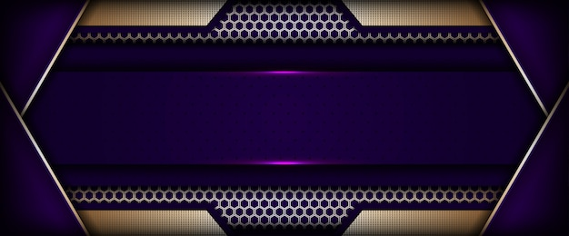 Modern tech purple background with golden abstract style Premium Vector