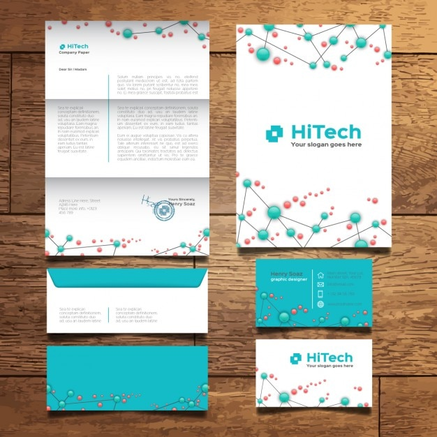 modern tech stationery design vector