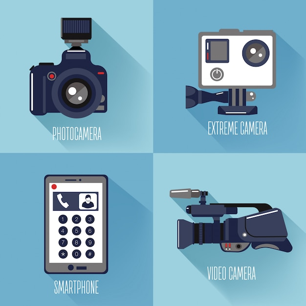 Modern technologies. professional photo and video camera, extreme camera and smart phone Premium Vector