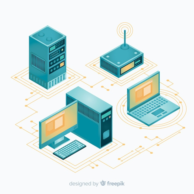 Modern technology composition with isometric view Free Vector