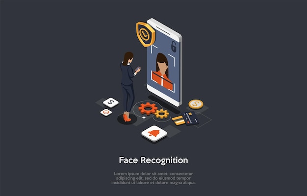 Modern technology, device unlock, face recognition, face unlock concept. female character gets access to functions and settings on smartphone using face recognition. Premium Vector