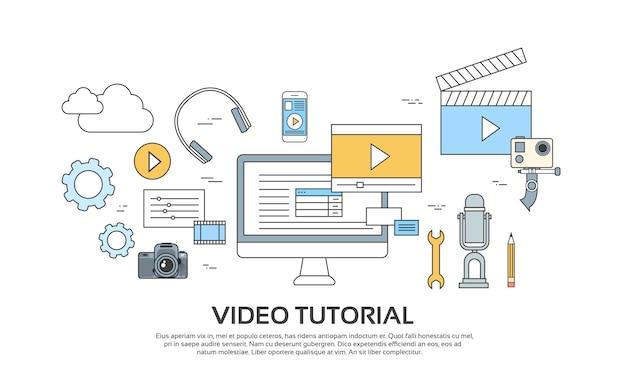 ビデオチュートリアルエディタのコンセプトmodern technology set icons Premiumベクター