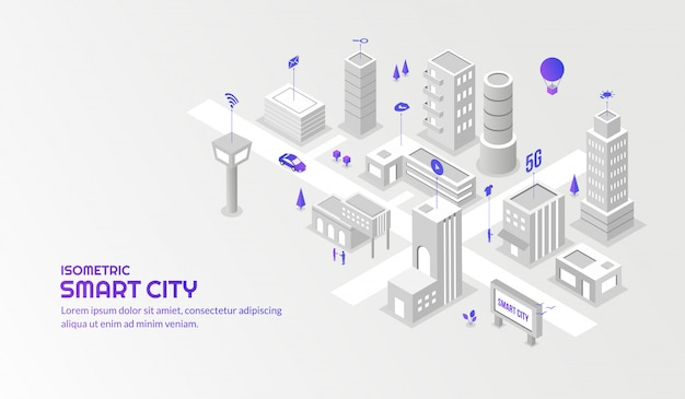 Modern technology sevice with the connected smart isometric city background Premium Vector