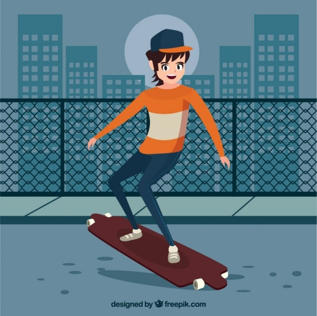 Modern teenager with his skateboard in the\ city